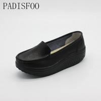 [classic]2017 New Women's Shoes Swing Flexible Leather Rocking Swing Platform Wedges Shoes  Loafers Thick Heels shoes .SPP-8102