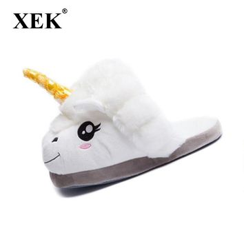XEK Home Cartoon Unicorn Warm Cotton Plush Slippers Soft Funny Animal Monster Slipper For Grown Ups Indoor\Floor Shoes ST225