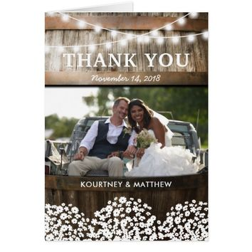RUSTIC COUNTRY WEDDING | WOOD BARREL THANK YOU CARD