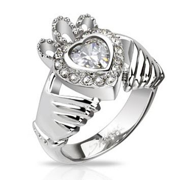 Claddagh Crown Heart with Multi CZ Cast Ring Stainless Steel