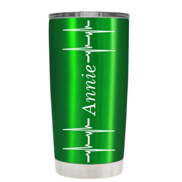 Personalized Heart Beat Pulse on Translucent Green 20 oz Tumbler Cup