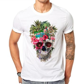 100% Cotton Flower Skull Printed Mens T-Shirts