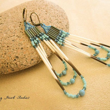 Porcupine Quill earrings - turquoise stone beads