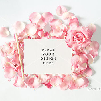 Styled Stock Photography - Product Presentation - Card & Invitation Mockup -  Pink Rose Petals and Landscape Blank Card on White Desktop