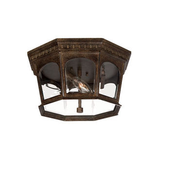 Acclaim Lighting 9515BC Newcastle Black Coral Three-Light 7.5-Inch Outdoor Ceiling Flush Mount