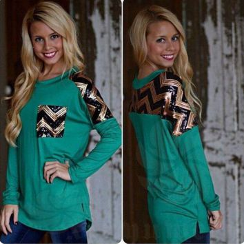 Green Sequins Long-Sleeve Shirt With Pocket Day-First™