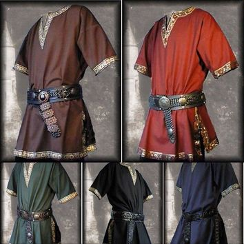 Cool Adult Men Medieval Renaissance Tunic Aristocrat Chevalier Costume Braided Viking Pirate Saxon Cosplay Top Shirt For MenAT_93_12