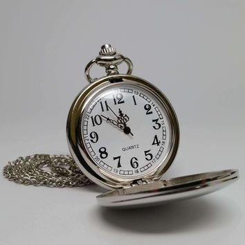 Classic Vintage Style Silver Tone Pocket Watch