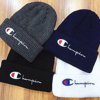 ONETOW Tagre? Champion Embroidery Beanies Winter Knit Hat Cap