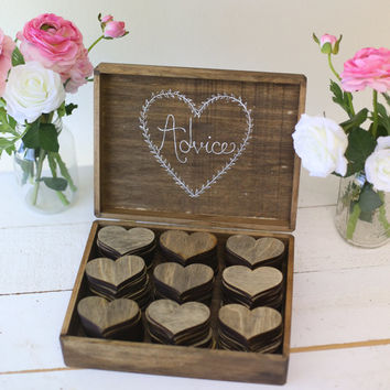 Personalized Rustic Wedding Guest Book Alternative Bridal Shower Keepsake Advice Box LARGE size (item number MMHDSR10014)
