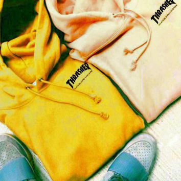 One-nice™ ThrasherQuality hooded sweater flame slide hip sweater Letters on the side Yellow