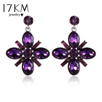 17KM Crystal Flower Drop Earring for Women Rhinestones Long Earrings 2017 New Fashion Best Friends Statement Wedding Jewelry