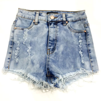 Jeannine High Waisted Shorts - Light Acid Wash