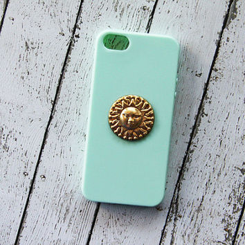 Sun iPhone 5 Case Gold iPhone Case iPhone 5s Case Cutest Mint Green Hippie Psychedelic Samsung Galaxy S3 Case Samsung Galaxy S4 Case