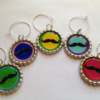 Colorful Moustache Wine Charms-Set of 5