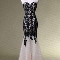 Sexy Black Lace Long Prom Dress Bridesmaid Party Dresses Evening Formal Gowns