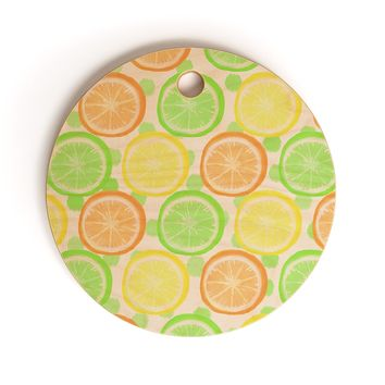 Lisa Argyropoulos Citrus Wheels And Dots Cutting Board Round
