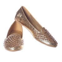 Glitter Flats with Studs - Gold