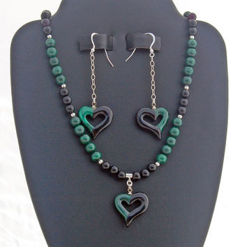 Malachite Onyx Heart Necklace and Earrings Handmade Gemstone Set