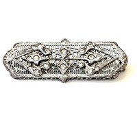 Art Deco Filigree Brooch, Rhodium Plated, Open Work, Bar Pin, Clear Rhinnestones, Ornate, 1920's, Antique jewelry