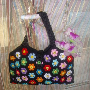 ON SALE - 10% OFF Granny Square Crochet Handbag...Knitted Purse...Multicolor crochet flowers...Handmade fashion bag...
