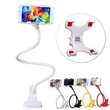 ANGELANGELA Universal 360 degree Rotation Long Arm Lazy Flexible Holder Cradle Stand For Smartphones, Double Clip-White
