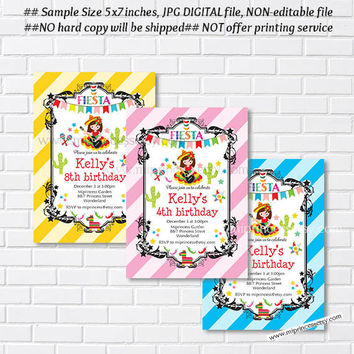 Mexican little girl Fiesta Birthday invitation, Birthday Invitation for any age, little girl birthday Colorful Festive party - card 864