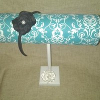 Boutique Headband designs turquoise white damask decor Craft show display, girls gift trendy prints