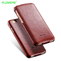 FLOVEME i7 i6 6S Plus Vertical Flip Leather Case For Apple iPhone 6 7 6S Plus Coque Smooth Skin with Logo Vintage Magnetic Cover