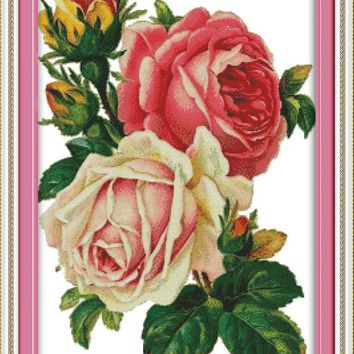 Ferns and Roses Flowers Cotton Canvas DMC Cross Stitch Kits Accurate Printed Embroidery DIY Handmade Needle work Wall Home Decor