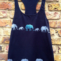 Elephant Parade Vest - organic cotton, fairly traded, hand printed