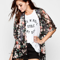 Lottie & Holly Floral Print Womens Fringe Kimono Black Combo  In Sizes
