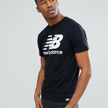 New Balance Classic Logo T-Shirt In Black MT63554_BK at asos.com