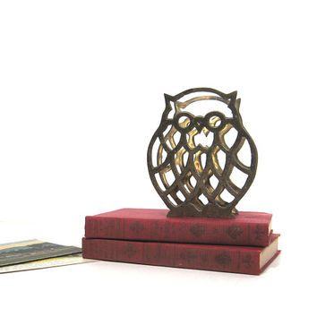 Brass Owl Letter Holder Vintage Photo Display