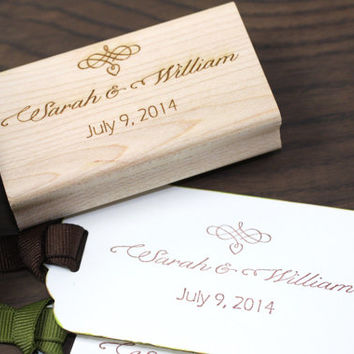 Custom Save the Date Stamps - Personalized Calligraphy Stamp