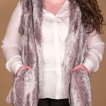 Erin London - Taupe Hooded Fur Vest