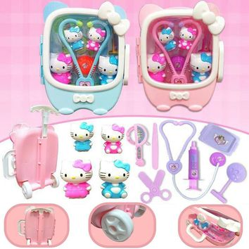 11pcs/Set Doctor Toys Play Set Portable Pull Rod Medical Kit Nurse Tool Hello Kitty Children Games Kids Toys Best Gift for Girls