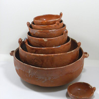 Vintage 8pc RARE Mexican Pottery Nesting Bowls Set Tlaquepaque Mexico