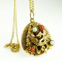 Vintage Locket Dragon Faux Carnelian Jade Bead Retro Necklace