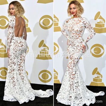 Free shipping  Celebrity sexy women dress backless applique white lace dresses crochet beyonce mermaid See-Through dresses