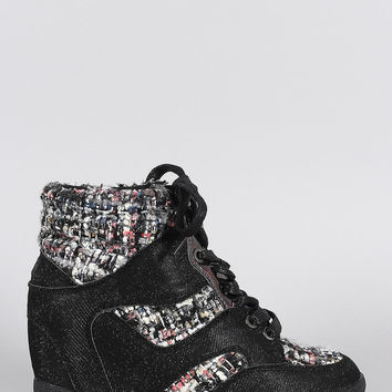 Bamboo Glitter Tweed High Top Lace Up Wedge Sneakers