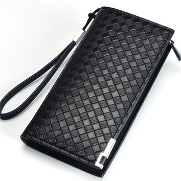 Fashion Solid Knitting pattern Leather Men's wallet long purse with zipper Male clutch bag