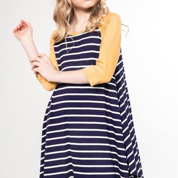 Girls Striped Raglan Dress