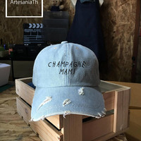 Champagne Mami Dad Hat, Denim Cap, Jean Cap, Dad hat Baseball cap , Girlfriend gift, Low-Profile Pinterest Dad Hat Baseball Cap