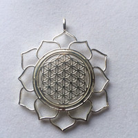 Sacred Geometry Flower of Life in Lotus Pendant set in 925 Sterling Silver
