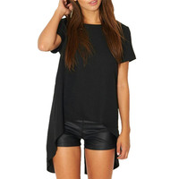 Women Spring Summer T-Shirts Solid Casual Short Sleeve O-Neck Loose Tees Fashion Asymmetric Summer Tops Top Quality 41