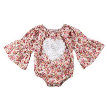 Floral Heart Flare Sleeve Romper