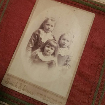 Adorable young Victorian sisters with long hair cabinet card