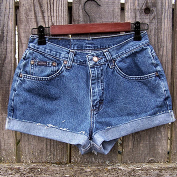 "HIGH WAISTED SHORTS cuffed booty shorts cut offs blue denim 90s grunge clothing festival shorts upcycled jeans Daisy Dukes shorts 28"" waist"
