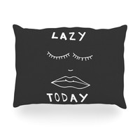 """Vasare Nar """"Lazy Today Grey"""" Typography Gray Oblong Pillow"""